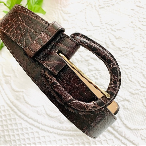 New from Italy Genuine Real black /& Brown CROCODILE mens belt w Gold toneBuckle